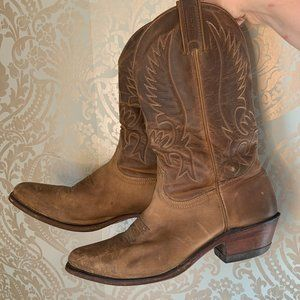 Boulet Brown Distressed Oiled Leather Cowboy Boots